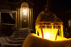 """""""Snowy Lamp Post 1"""" - Photograph of a snow covered lamp post and snowy walkway in Downtown Truckee, California."""