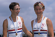 Zagreb, CROATIA.  GBR LW2X Bow, MYERS  . Malindi and TAYLOR Miriam. 2000 FISA World Rowing Junior & Non-Olympic Seniors Championships   [Mandatory Credit Peter Spurrier/Intersport Images]