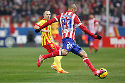 11.01.2014, Estadio Vicente Calderon, Madrid, ESP, Primera Division, Atletico Madrid vs FC Barcelona, 19. Runde, im Bild Atletico de Madrid´s Miranda (R) and Barcelona´s Andres Iniesta // Atletico de Madrid´s Miranda (R) and Barcelona´s Andres Iniesta during the Spanish Primera Division 19th round match between Club Atletico de Madrid and Barcelona FC at the Estadio Vicente Calderon in Madrid, Spain on 2014/01/11. EXPA Pictures © 2014, PhotoCredit: EXPA/ Alterphotos/ Victor Blanco<br /> <br /> *****ATTENTION - OUT of ESP, SUI*****