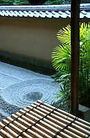 Ryogen-in, the head temple of the South School of Rinzai-shu Daitoku-ji sect, has a collection of zen gardens. The most interesting would be Ryogin-tei, a moss covered Karesansui that was laid out in the early 16th century.