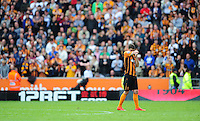 Hull City's Robbie Brady at the end of the game as his sides relegation from the Barclays Premiership is confirmed<br /> <br /> Photographer Chris Vaughan/CameraSport<br /> <br /> Football - Barclays Premiership - Hull City v Manchester United - Sunday 24th May 2015 - Kingston Communications Stadium - Hull<br /> <br /> © CameraSport - 43 Linden Ave. Countesthorpe. Leicester. England. LE8 5PG - Tel: +44 (0) 116 277 4147 - admin@camerasport.com - www.camerasport.com