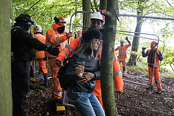 Aylesbury Vale, UK. 1st October, 2020. HS2 security guards and National Eviction Team bailiffs working on behalf of HS2 Ltd try to distance a female anti-HS2 activist from a fence during evictions from a wildlife protection camp in the ancient woodland which inspired Roald Dahl's Fantastic Mr Fox at Jones' Hill Wood. Around 40 environmental activists and local residents, some of whom living in makeshift tree houses 60 feet above the ground, were present during the evictions at Jones' Hill Wood which had served as one of several protest camps set up along the route of the £106bn HS2 high-speed rail link in order to resist the controversial infrastructure project.