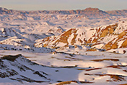 Snow covered badlands in the McCullough Peaks