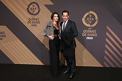 March 19, 2018 - Lisbon, Lisbon, Portugal - President of Portuguese football league Pedro Proenca (R) poses on arrival at 'Quinas de Ouro' 2018 ceremony held and the Pavilhao Carlos Lopes in Lisbon, on March 19, 2018. (Credit Image: © Dpi/NurPhoto via ZUMA Press)