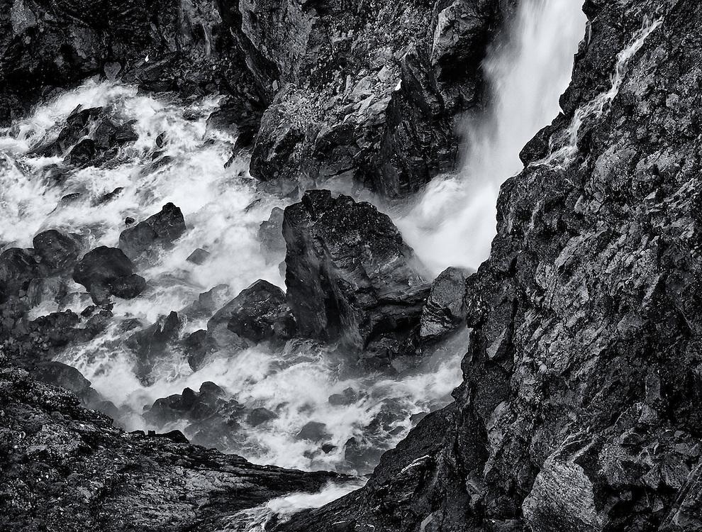 Norway - Detail of Stigfossen waterfall BW