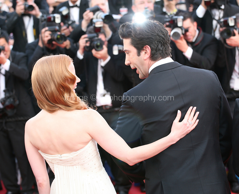 David Schwimmer and Jessica Chastain chatting on the red carpet at the gala screening Madagascar 3: Europe's Most Wanted at the 65th Cannes Film Festival. On Friday 18th May 2012 in Cannes Film Festival, France.