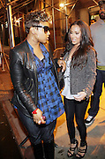 l to r: Chrisette Michelle and Adrienne Balion depart the Jadakiss performance in support of his new album ' The Last Kiss '  held at Highline Ballroom on April 8, 2009 in New York City
