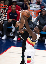 December 31, 2018 - New Orleans, LA, U.S. - NEW ORLEANS, LA - DECEMBER 31:   New Orleans Pelicans forward Julius Randle (30) drives to the basket against Minnesota Timberwolves center Karl-Anthony Towns (32) at New Orleans Arena in New Orleans, LA on Oct 23, 2018.  (Photo by Stephen Lew/Icon Sportswire) (Credit Image: © Stephen Lew/Icon SMI via ZUMA Press)