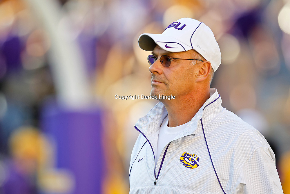 October 16, 2010; Baton Rouge, LA, USA; LSU Tigers offensive coordinator Gary Crowton watches during warm ups prior to kickoff against the McNeese State Cowboys at Tiger Stadium. LSU defeated McNeese State 32-10. Mandatory Credit: Derick E. Hingle