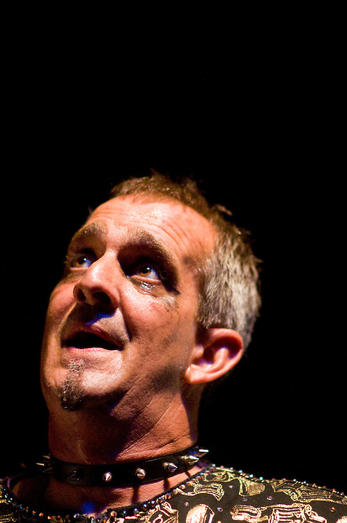 Photo copyright 2009, Matt Roth.Friday, August 7, 2009.The 9:30 Club Washington D.C...The Shred (Lance Kasten) eyes the judges after performing in the second round of competition during the 2009 U.S. Air Guitar Championships at the 9:30 Club in Washington D.C. Friday, August 7, 2009. His unrehearsed bit proved less together than his first round performance.