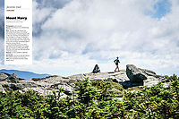 Trail Runner Magazine Favorite Trail - June 2019.<br /> Kethy Roberts dances with the clouds near the summit of Mt Marcy, New York.