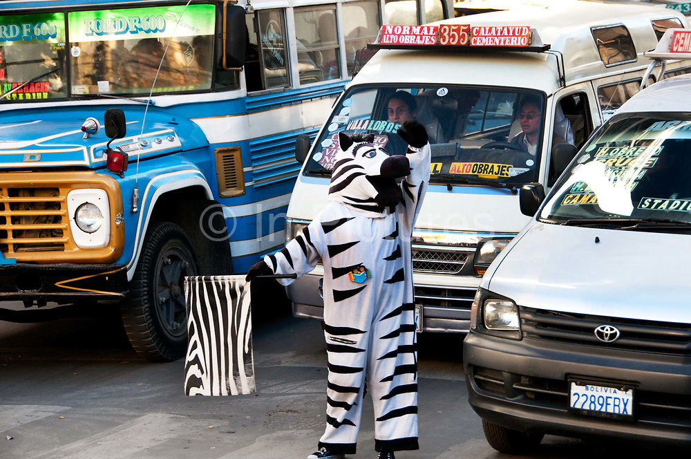 Bolivia, La Paz 2013. Young people dressed as zebras help control the traffic during the afternoon rush hour (3 pm - 6pm) enabling people to use the zebra crossings.The scheme has been running since 2001 and gives a job and income to disadvantaged youth.