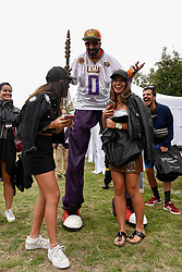 © Licensed to London News Pictures. 18/08/2018. LONDON, UK. A costumed performer on stilts entertains the crowds at the ZEE London Mela, in Southall Park near to Europe's oldest Asian community in Southall, west London. Now in its 16th year, the weekend festival includes music, dance and cultural activities, inspired by South Asia and the diaspora.  Photo credit: Stephen Chung/LNP