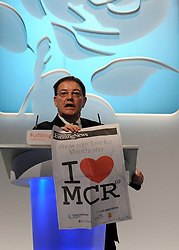 © Licensed to London News Pictures. 29/09/2011. LONDON, UK. Cllr Richard Leese, leader of Manchester City Council holds up a I love Manchester poster. The Labour Party Conference in Liverpool today (2829/09/11). Photo credit:  Stephen Simpson/LNP