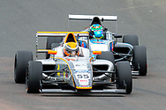 Eventual winner Carter Williams (USA) JHR Developments leading the way from Sebastian Alvarez (MEX) Double R Racing during the FIA Formula 4 British Championship at Knockhill Racing Circuit, Dunfermline, Scotland on 15 September 2019.