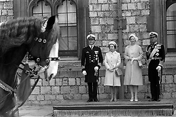 File photo dated 30/04/74 of Queen Margrethe and Prince Henrik of Denmark with Queen Elizabeth II and the Duke of Edinburgh after the Danish couple's arrival at Windsor Castle. The Queen and Prince Philip will celebrate their platinum wedding anniversary on November 20.
