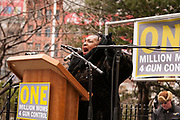 Jackie Rowe Adams, who lost two sons to gun violence, and who is the founder of Harlem Mothers Save, addresses the rally.