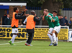 October 7, 2017 - Billericay, England, United Kingdom - Keagan Cole of Hendon FC  celebrates scoring his sides second goal .during Bostik League Premier Division match between Billericay Town against Hendon FC at New Lodge Ground, Billericay on 07 Oct 2017  (Credit Image: © Kieran Galvin/NurPhoto via ZUMA Press)