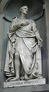 Amerigo Vespucci (March 9, 1454 – February 22, 1512) Italian explorer, navigator and cartographer. The continents of North America and South America are believed to have derived their name from the Latin version of his first name.. Portrait sculpture from