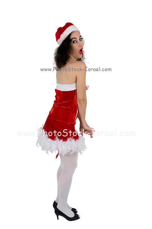 Young sexy woman in a red corset wearing Santa hat on white background
