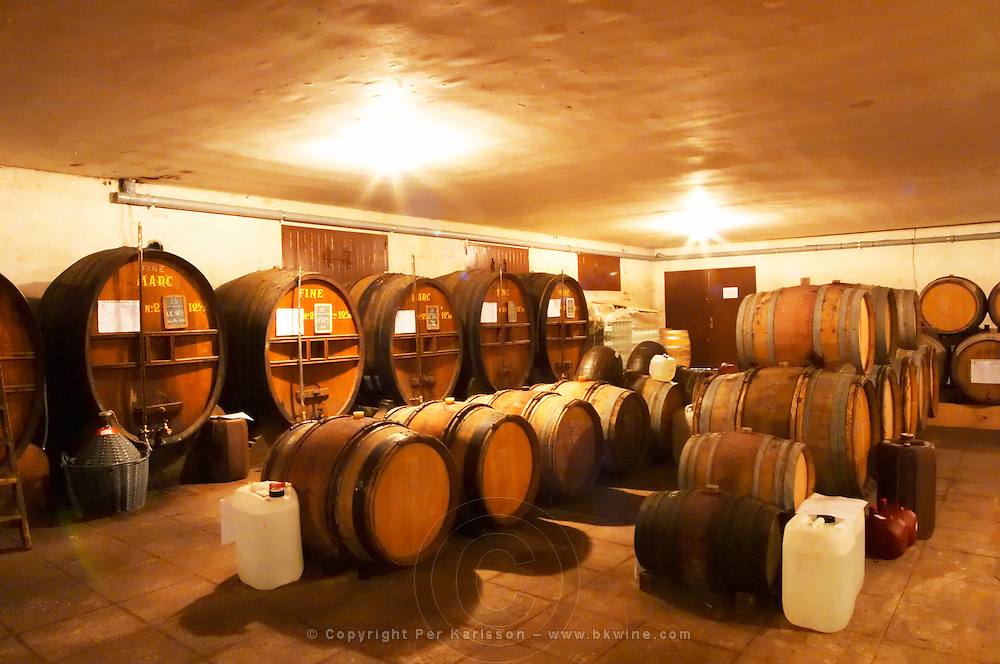 In the Chapoutier winery. The special storage room for spirits, marc, fine, with old wooden barrels and vats. Chapoutier is one of the few who still have the right to distill alcohol.  Domaine M Chapoutier, Tain l'Hermitage, Drome Drôme, France Europe