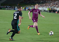 July 26, 2017 - Los Angeles, California, U.S - Kevin De Bruyne #17 of Manchester City is surrounded by Real Madrid defenders during their International Champions Cup game at the Los Angeles Memorial Coliseum in Los Angeles, California on Wednesday July 26, 2017. Manchester City defeats Real Madrid, 4-1. (Credit Image: © Prensa Internacional via ZUMA Wire)