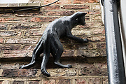 """Black cat scullpture on brick wall. The charming Shambles is one of the best preserved medieval streets in the world, and sits amid a district of twisting, narrow streets in York, England, United Kingdom, Europe. The Shambles was mentioned in the Doomsday Book of William the Conqueror in 1086. Many of its buildings date from 1350-1475, when the street hosted butchers' shops and houses. The overhanging timber-framed fronts of the Tudor buildings shelter the """"wattle and daub"""" walls below and would keep direct sunshine off of the butchers' meat. """"Shambles"""" may derive from """"Shammel,"""" an Anglo-Saxon word for the slaughterhouse shelves of the open shop-fronts."""