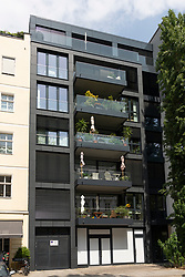 Exterior of luxury modern apartment building in gentrified district of Prenzlauer Berg in Berlin, Germany