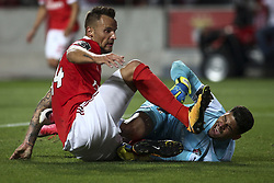 August 9, 2017 - Lisbon, Portugal - Benfica's forward Seferovic vies with Braga goalkeeper Matheus during the Portuguese League  football match between SL Benfica and SC Braga at Luz  Stadium in Lisbon on August 9, 2017. (Credit Image: © Carlos Costa/NurPhoto via ZUMA Press)