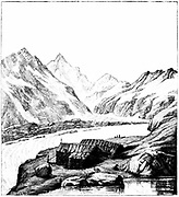 (Jean ) Louis (Rodolphe) Agassiz(1807-1873) Swiss-born American naturalist and glaciologist. His second shelter on the Aar glacier, Switzerland, 1842 expedition. From Elizabeth Cary Agassiz 'Louis Agassiz: His Life and Correspondence' Boston 1885. Engravi