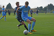 Leeds United forward Niklas Haughland battles for the ball during the U18 Professional Development League match between Coventry City and Leeds United at Alan Higgins Centre, Coventry, United Kingdom on 13 April 2019.