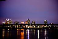 Downtown Little Rock, Arkansas skyline at dusk.