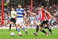 Queens Park Rangers Midfielder Massimo Luongo (21) in action during the EFL Sky Bet Championship match between Brentford and Queens Park Rangers at Griffin Park, London, England on 21 April 2018. Picture by Stephen Wright.