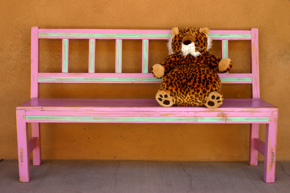 Stuffed Toy sits on pink bench, Santa Fe New Mexico