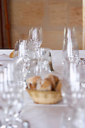 table set with glasses for tasting bread chateau la garde pessac leognan graves bordeaux france