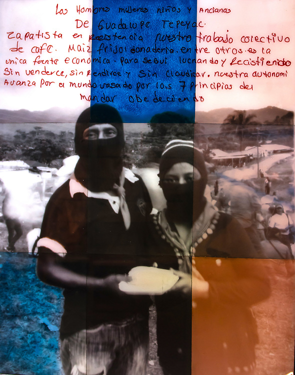 """""""Us & Them, Zapatista #4""""<br /> Photo was shot with the """"Us & Them"""" camera in the Zapatista controlled village of Guadalupe Tepeyac in Chiapas Mexico, close to the Guatemalan border. <br /> <br /> I was so taken by the beautiful young Zapatista couple in the photo because they had such a soulful, deep pride in the corn and coffee they grew. When I asked them to be part of the """"Us & Them"""" project they said they would love to! Then few minutes later they showed up at the shoot location holding a plate of tortillas made from the corn they grew. <br /> To highlight the tortillas in the print, I painted tortillas with the coffee I bought from them that day.  <br /> <br /> The translation of their """"Words from the Heart"""" at the top of the photo, in Spanish reads, <br /> """"The men, women, children and elders of Guadalupe de Tepeyac.<br /> Zapatista's in resistance, our collective work with coffee, corn, beans and livestock between us is the only economic fountain to continue fighting and resisting. Without selling out, without conquering, without giving up. Our autonomy advances in the world with our 7 principals of the village taking charge and the government obeying.""""<br /> <br />  48""""x60"""" analog print, constructed from 9 sheets of 16""""x20"""" gelatin silver paper and toned with Zapatista coffee. <br /> 1 of 1. 2017"""