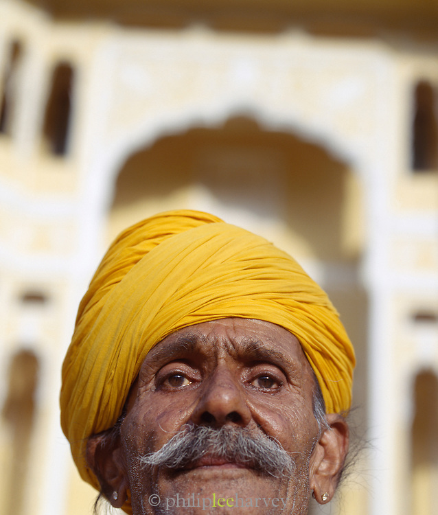 Portrait of a man in a Yellow Turban, Rajasthan, India