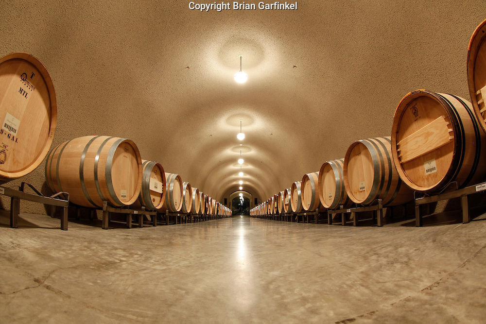 Wood wine barrels are seen in the cave at the Arkenstone Estate Vineyard on Saturday July 14th 2012 in Angwin, California. (Photo By Brian Garfinkel)