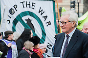 Lord Heseltine. Tony Benn's funeral at 11.00am at St Margaret's Church, Westminster. His body was brought in a hearse from the main gates of New Palace Yard at 10.45am, and was followed by members of his family on foot. The rout was lined by admirers. On arrival at the gates it was carried into the church by members of the family. Thursday 27th March 2014, London, UK. Guy Bell, 07771 786236, guy@gbphotos.com