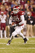 Nov 5, 2011; Fayetteville, AR, USA;  Arkansas Razorback tight end Chris Gragg (80) carries the ball during a game against the South Carolna Gamecocks at Donald W. Reynolds Stadium.  Mandatory Credit: Beth Hall-US PRESSWIRE