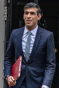 Chancellor of the Exchequer Rishi Sunak departs 11 Downing Street, in Westminster, London, to deliver a summer economic update at the Houses of Parliament on Wednesday, July 8, 2020. (VXP Photo/ Vudi Xhymshiti)