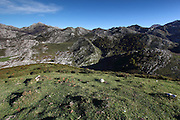 View from a hilltop in the western part of the Picos de Europa national park in northern Spain