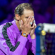 2019 US Open Tennis Tournament- Day Fourteen.   Rafael Nadal of Spain in tears as he awaits the trophy presentation afterhius five set win against Danill Medvedev of Russia in the Men's Singles Final on Arthur Ashe Stadium during the 2019 US Open Tennis Tournament at the USTA Billie Jean King National Tennis Center on September 8th, 2019 in Flushing, Queens, New York City.  (Photo by Tim Clayton/Corbis via Getty Images)