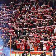 New York Red Bulls fans sing the national anthem before the New York Red Bulls Vs Houston Dynamo, Major League Soccer regular season match at Red Bull Arena, Harrison, New Jersey. USA. 19th March 2016. Photo Tim Clayton