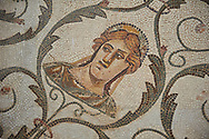 Detail picture of a Roman mosaics design depicting the Four Seasons, from the Maison de la Procession Dionysiaque, ancient Roman city of Thysdrus. 2nd century AD. El Djem Archaeological Museum, El Djem, Tunisia. .<br /> <br /> If you prefer to buy from our ALAMY PHOTO LIBRARY Collection visit : https://www.alamy.com/portfolio/paul-williams-funkystock/roman-mosaic.html . Type - El Djem - into the LOWER SEARCH WITHIN GALLERY box. Refine search by adding background colour, place, museum etc<br /> <br /> Visit our ROMAN MOSAIC PHOTO COLLECTIONS for more photos to download as wall art prints https://funkystock.photoshelter.com/gallery-collection/Roman-Mosaics-Art-Pictures-Images/C0000LcfNel7FpLI