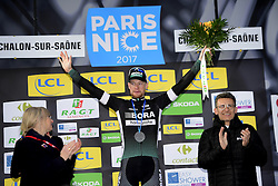 March 7, 2017 - Chalon Sur Saone, France - CHALON-SUR-SAONE, FRANCE - MARCH 7 : BENNETT Sam (IRL) Rider of Team Bora - Hansgrohe pictured during the podium ceremony after winning stage 03 of the 75th edition of the Paris - Nice cycling race, a stage of 190 km with start in Chablis and finish in Chalon-Sur-Saone on March 07, 2017 in Chalon-Sur-Saone, France, 7/03/2017 (Credit Image: © Panoramic via ZUMA Press)