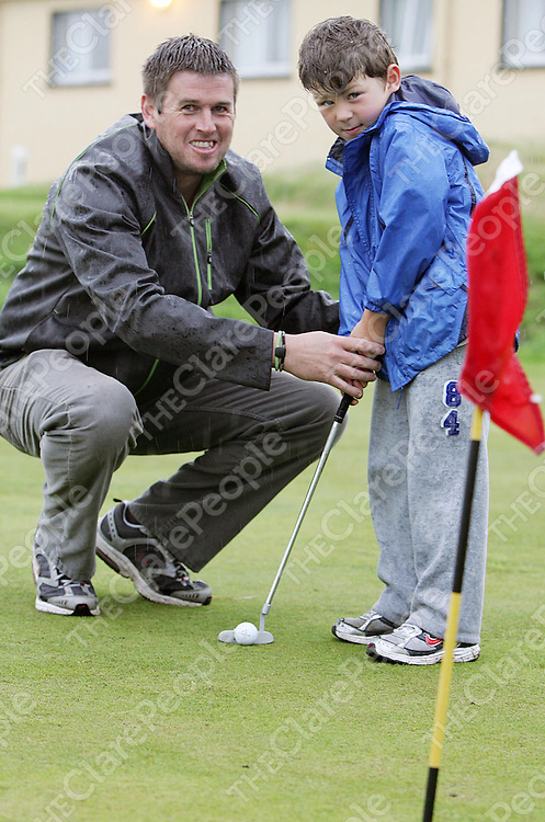 Pictured at the new practice area of Spanish Point Golf Club on Wednesday 10th August 2011 which was set up in memory of David McCarthy were Eoghan O'Loughlin & Gavin keane.<br /> <br /> Pic Emma Jervis / Press 22