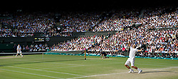 01.07.2011, Wimbledon, London, GBR, ATP World Tour, Wimbledon Tennis Championships, im Bild Rafael Nadal (ESP) serves during the Gentlemen's Singles Semi-Final match on day eleven of the Wimbledon Lawn Tennis Championships at the All England Lawn Tennis and Croquet Club. EXPA Pictures © 2011, PhotoCredit: EXPA/ Propaganda/ David Rawcliffe +++++ ATTENTION - OUT OF ENGLAND/UK +++++