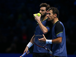 November 15, 2017 - London, United Kingdom - Ivan Dodig (CRO) and Marcel Granollers (ESP) against Jamie Murray (GBR) and Bruno Soares (BRA).during Day Four of the Nitto ATP World Tour  Finals played at The O2 Arena, London on November 15 2017  (Credit Image: © Kieran Galvin/NurPhoto via ZUMA Press)