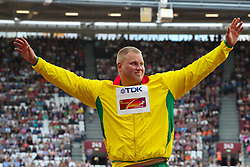 London, 2017 August 06. Men's discus gold medalist Andrius Gudžius of Lithuania on day three of the IAAF London 2017 world Championships at the London Stadium. © Paul Davey.